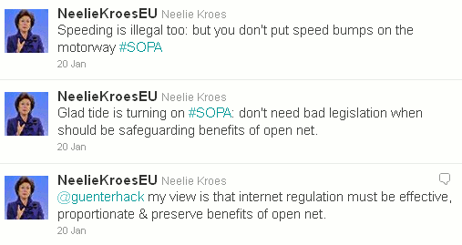 EU Commission Vice President Neelie Kroes Tweets About SOPA